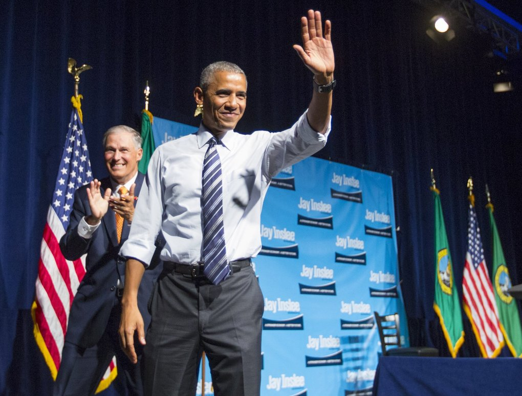 President Barack Obama speaks at Gov. Jay Inslee's re-election fundraiser at the Washington State Convention Center on Friday in Seattle. (Mike Siegel / The Seattle Times)