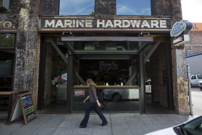 The exterior of Ethan Stowell's Marine Hardware in Ballard. (Sy Bean/The Seattle Times)