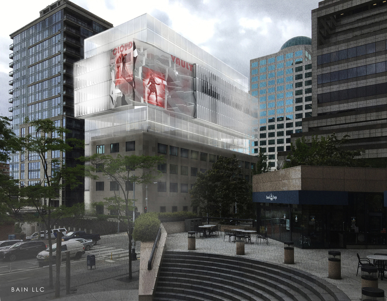 A rendering of Martin Selig's downsized proposal for the Federal Reserve Building in downtown Seattle. (courtesy of Bain LLC)