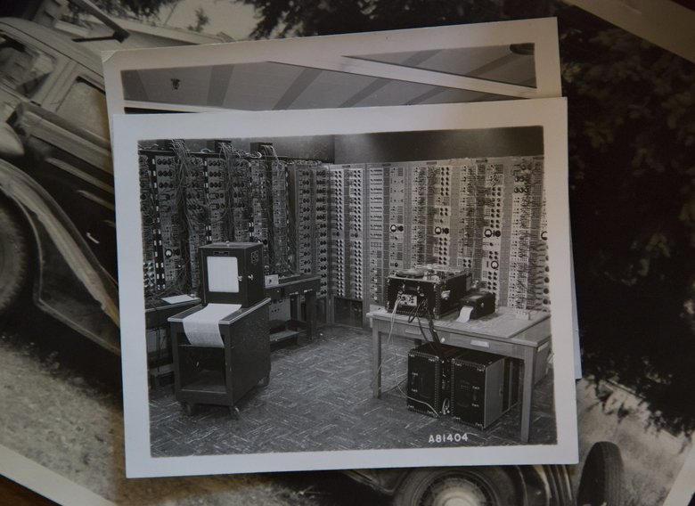 This photo shows old analog computers that Luella Armstrong and her co-workers used to run their calculations at Boeing.  (Sy Bean/The Seattle Times)