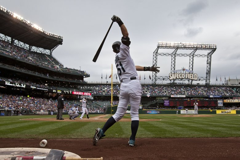 Ichiro warms up for his at-bat against the Los Angeles Dodgers during a 2012 game at Safeco Field. (DEAN RUTZ/The Seattle Times)