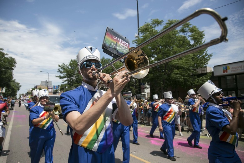 Members of Lakeside Pride Music Ensembles march in the 47th annual Chicago Pride Parade, which kicked off at Montrose and Broadway on Sunday, June 26, 2016. (Ashlee Rezin/Chicago Sun-Times via AP) MANDATORY CREDIT