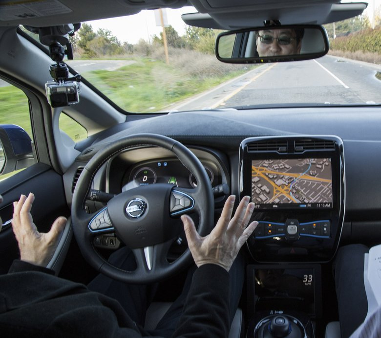 A test ride in a prototype of an autonomous Nissan car, in Sunnyvale, Calif., Jan. 7. (ELIZABETH D. HERMAN/NYT)