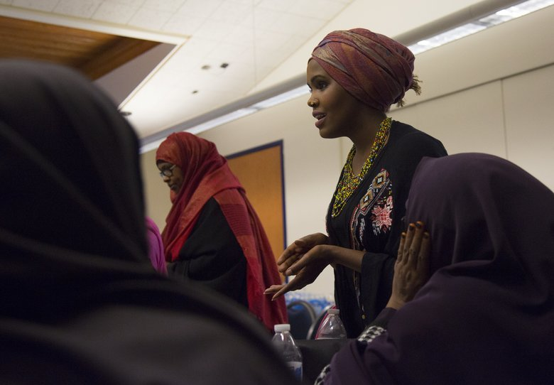 Zam Zam Mohamed, co-founder of Voices of Tomorrow, leads a class May 28 during the group's second annual conference, in Tukwila. The nonprofit organization advocates for some 350 East African child-care providers in the Seattle area. (Sy Bean/The Seattle Times)