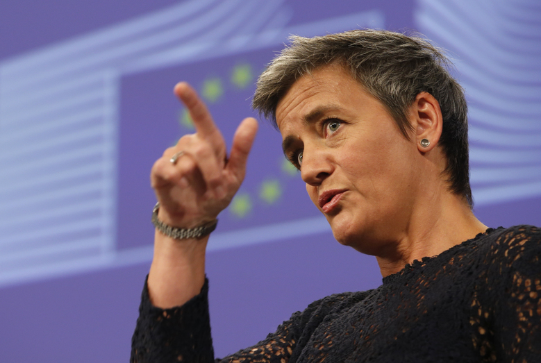 EU Antitrust Commissioner Margrethe Vestager addresses the media at EU Commission headquarters in Brussels, Belgium, Thursday, July 14, 2016. The European Union opened a new front Thursday in its battle with Google, accusing the technology giant of abusing its dominant position in the online search market to benefit its own comparison shopping and advertising business. (AP Photo/Darko Vojinovic)