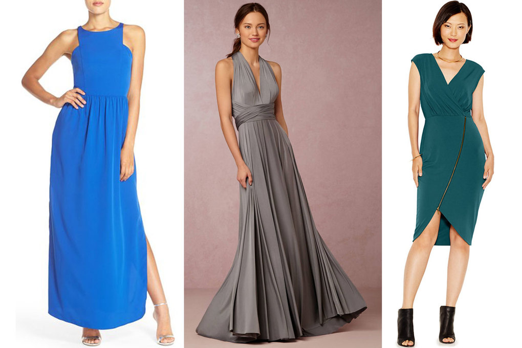 Chelsea28 Cutaway Shoulder Maxi Dress, $148; Twobirds Ginger Convertible Maxi, $310; Rachel Roy Asymmetrical-Zip Jersey Dress, $119
