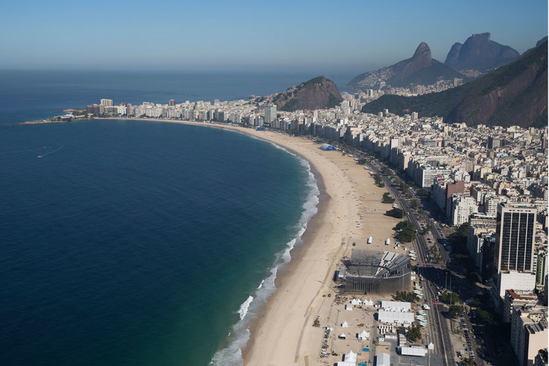 The Olympic beach volleyball venue is under construction on Copacabana beach in Rio de Janeiro, Brazil, July 5, 2016. Broadcasters have said Rio will be the most telegenic site ever. (AP Photo/Felipe Dana)