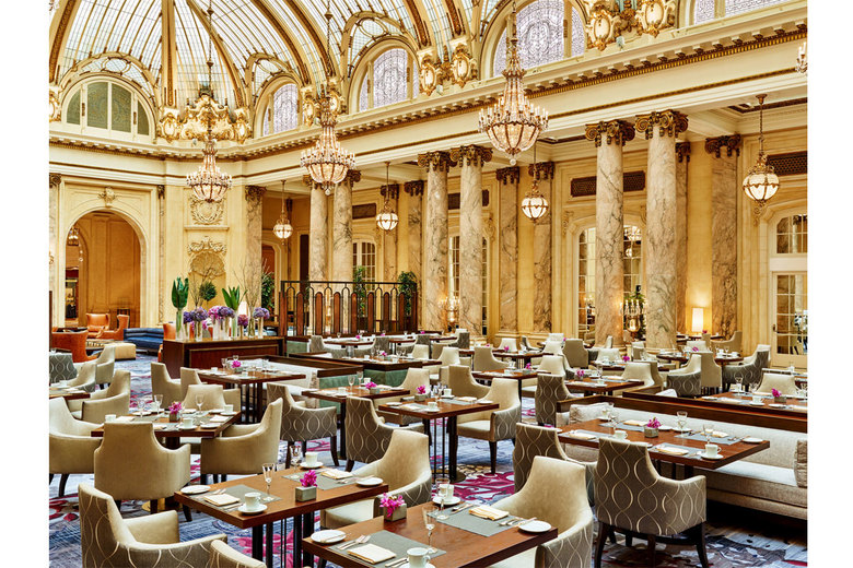 The Garden Court restaurant has soaring stained-glass ceiling and Italian marble columns.