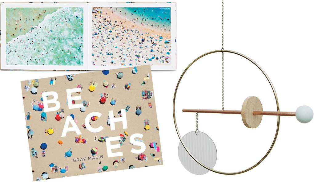 """Beaches"" book, $40;      Ladies and Gentlemen    Playscape Mobile —  Glass Circle, $130"
