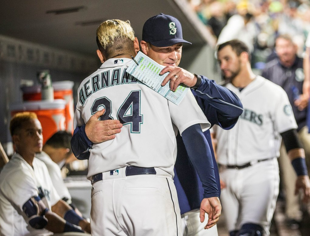 Mariners skipper Scott Servais left Felix Hernandez in through 7, and his ace rewarded him with a 3-hit effort.   (Dean Rutz / The Seattle Times)