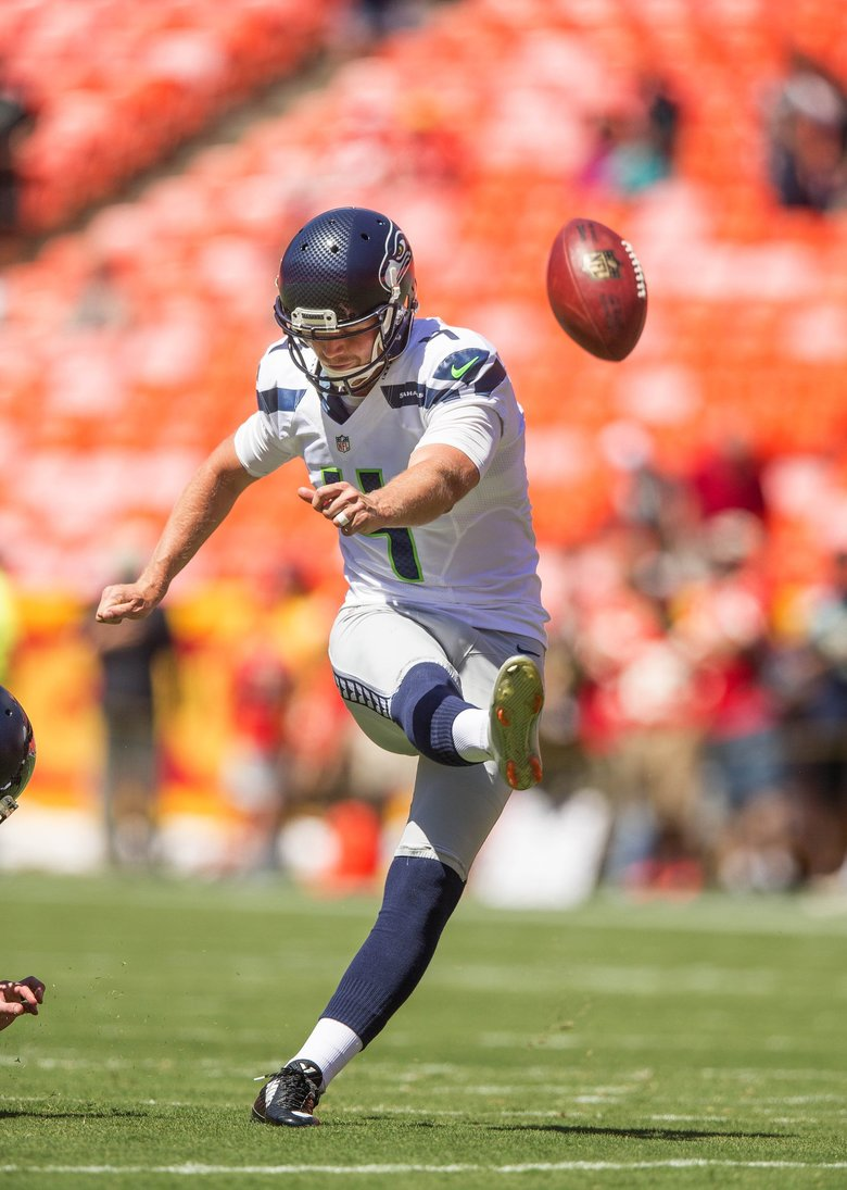 Kicker Steven Hauschka warms up for Saturday' game with Kansas City.  (Dean Rutz / The Seattle Times)