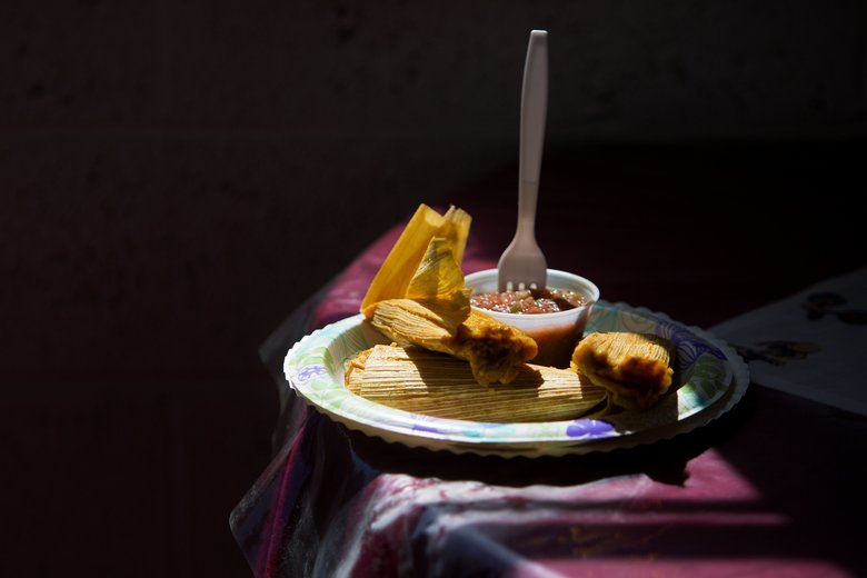 Chicken and pork tamales at Los Hernandez, a longtime family-run tamale shop in Union Gap. (Sy Bean/The Seattle Times)