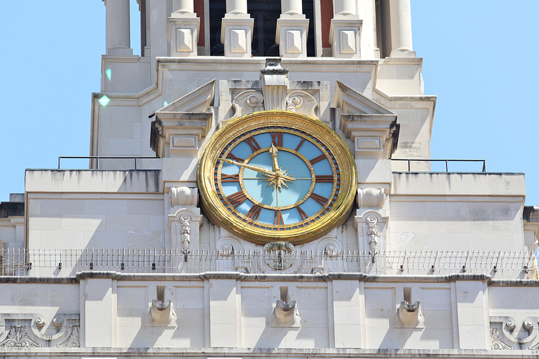 The clock on the University of Texas at Austin tower is stopped at 11:48am to mark the time Charles Whitman began shooting from the site 50 years ago. The architectural engineering student and Marine-trained sniper climbed to the observation deck of the 27-story structure in the heart of UT's flagship Austin campus, armed with rifles, pistols and a sawed-off shotgun. He killed 13 people and wounded more than 30 others before authorities gunned him down. (Joshua Guerra/The Daily Texan via AP)