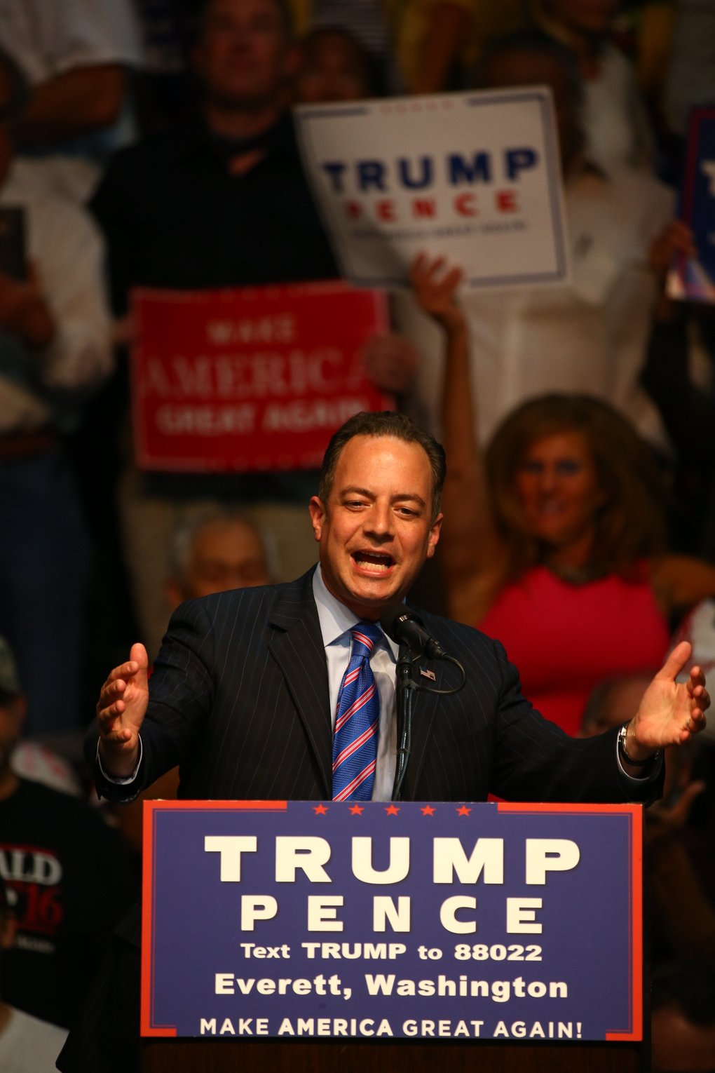 Reince Priebus, Republican National Committee chair, speaks before Donald Trump's appearance Tuesday night. (Dean Rutz / The Seattle Times)