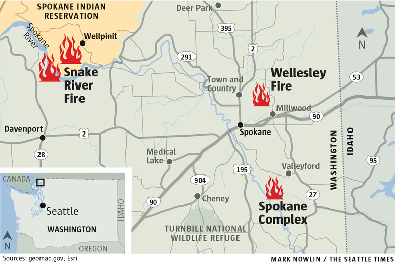 Spokane Wildfire Map.Wildfires In Spokane Region Grow Destroy More Than A Dozen Homes
