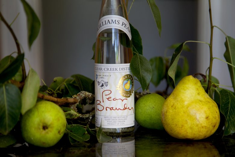 Ingredients to make pear clafoutis include pear brandy from Clear Creek Distributors. (Johnny Andrews/The Seattle Times)