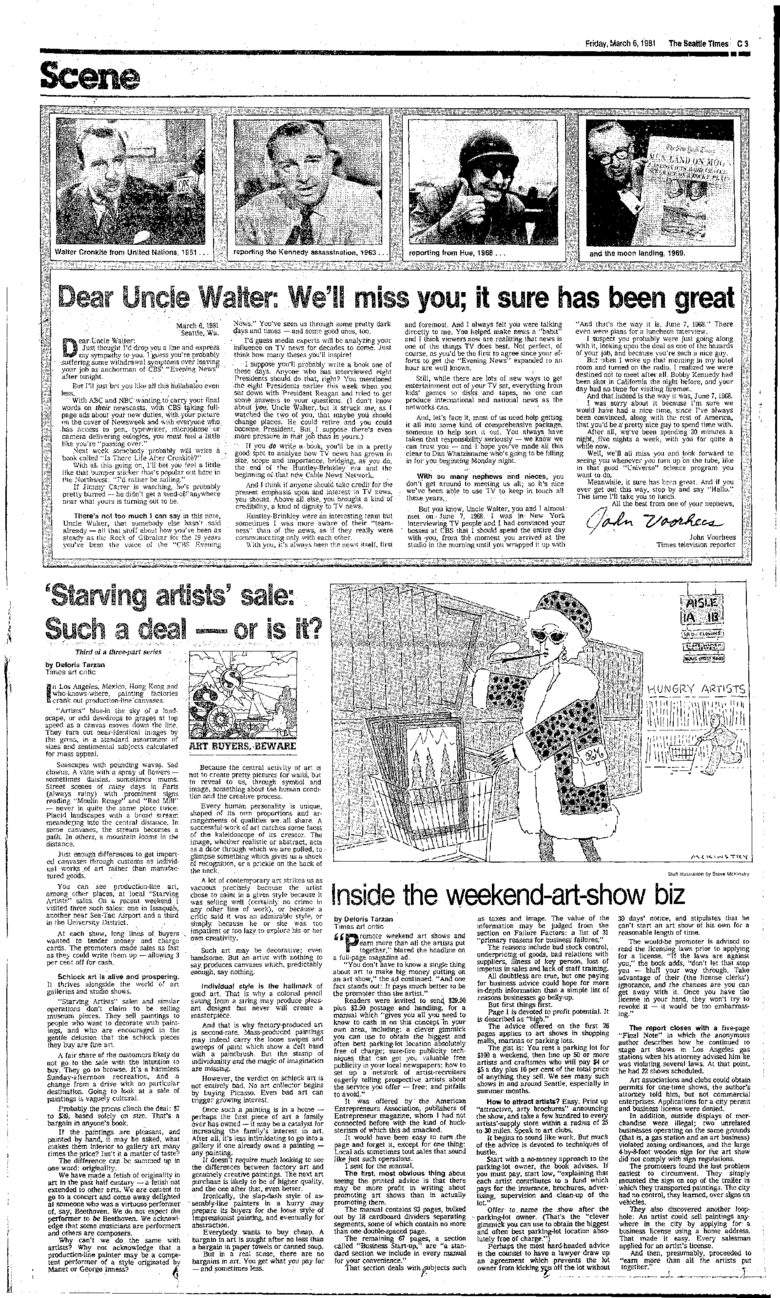 """Next week somebody will probably write a book called 'Is There Life After Cronkite?',"" wrote John Voorhees, The Times' television reporter, in coverage of Walter Cronkite's 1981 retirement. (Seattle Times archive)"