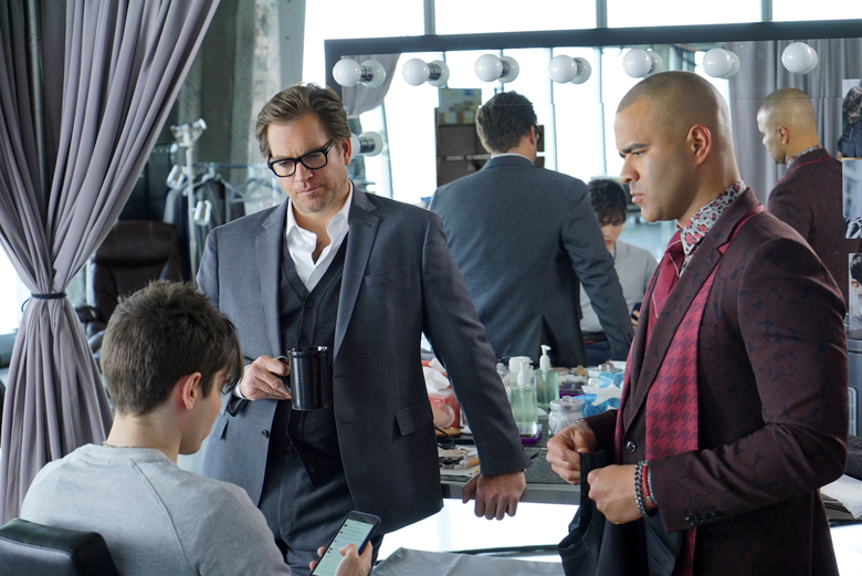 """Michael Weatherly as Dr. Jason Bull, background left, and Chris Jackson as Chunk Palmer, right, in a scene from, """"Bull."""" (David M. Russell/CBS via AP, file)"""