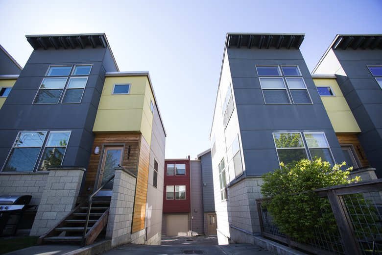 The 10500 block of Stone Avenue North, off North Northgate Way, is made up of new townhomes. (Lindsey Wasson/The Seattle Times)