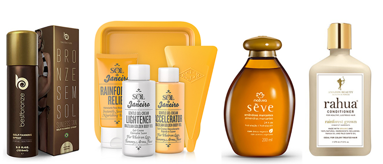 From left: BestBronze Autobronzeador Spray, $20;  Sol De       Janeiro      Brazilian    Golden Body      Veil Sol De Janeiro, $32; Natural Seve, $26; Rahua Conditioner, $32