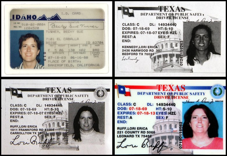The various identities of Lori Ruff. (Photos courtesy of Social Security Administration)