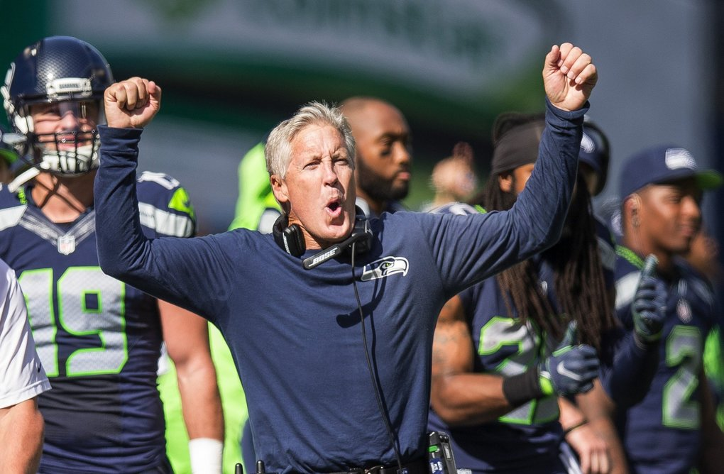 Pete Carroll cheers Jimmy Graham's 18-yard touchdown reception in the 2nd quarter.  The San Francisco 49ers played the Seattle Seahawks Sunday, September 25, 2016 at CenturyLink Field in Seattle.  (Dean Rutz / The Seattle Times)