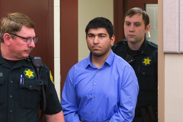 Arcan Cetin, 20, was arraigned at Skagit County Superior Court in Mount Vernon on Monday. He is charged with killing five people at the Cascade Mall on Friday night. (Mike Siegel / The Seattle Times)