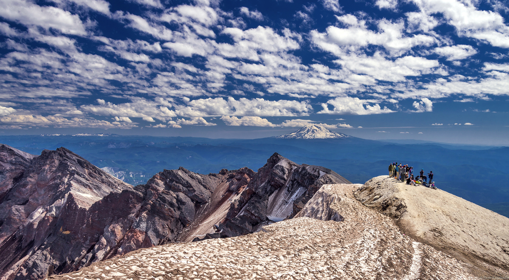 A group of hikers atop Mount St. Helens. (Raxit Kagalwala)