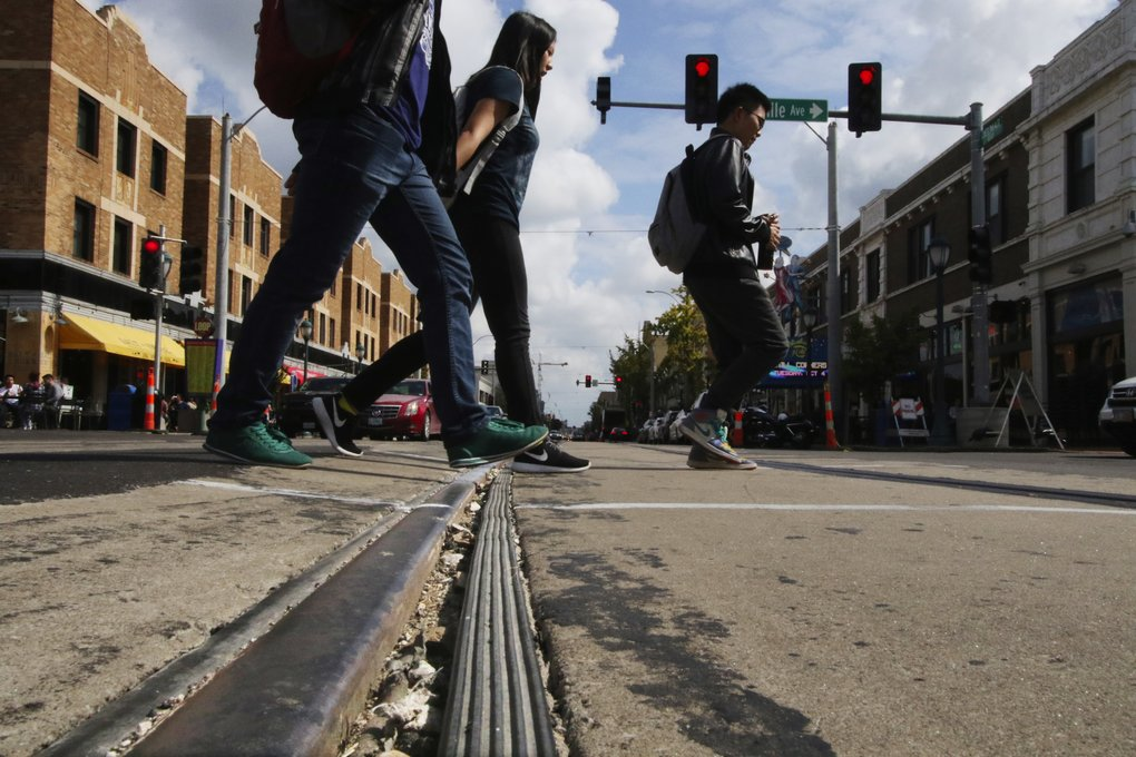 The tracks are laid and next month testing begins in The Loop in St. Louis, Mo., new home to the former George Benson Waterfront Streetcars. The line is 2.2 miles long.  (Alan Berner/The Seattle Times)