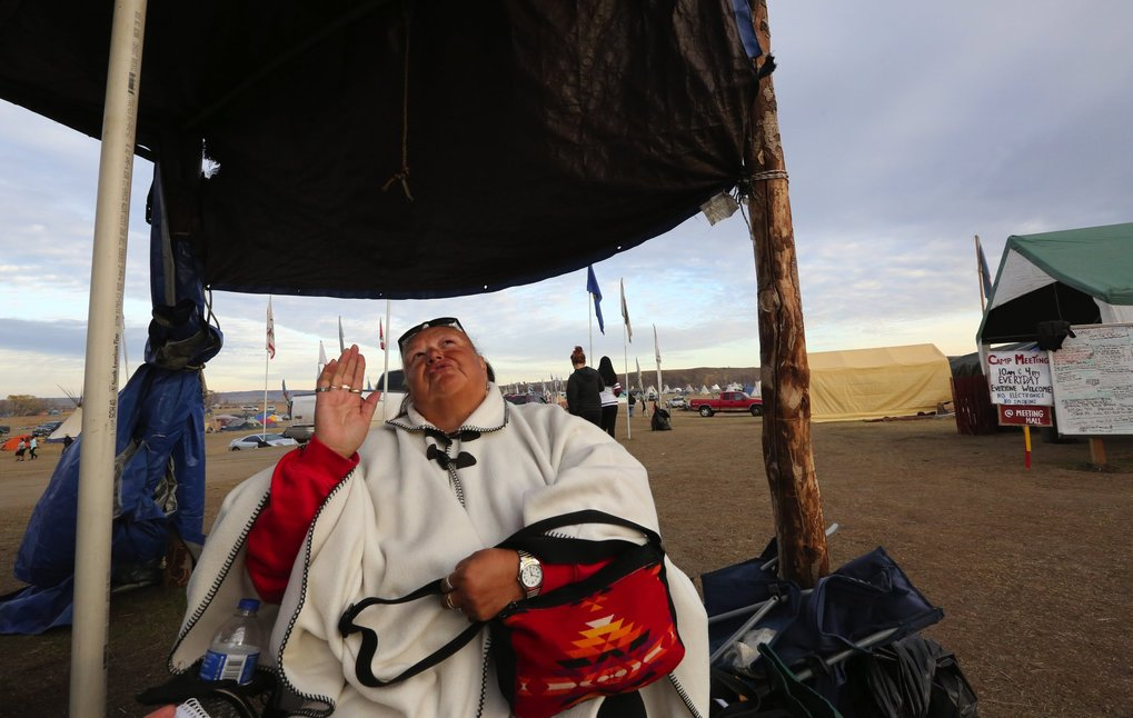 Ella Mae White Eagle, a Muckleshoot tribal member, says she has spent cold nights in a tent at the North Dakota encampment in opposition to the pipeline, and has seen white eagles during her time at the camp. (Alan Berner / The Seattle Times)