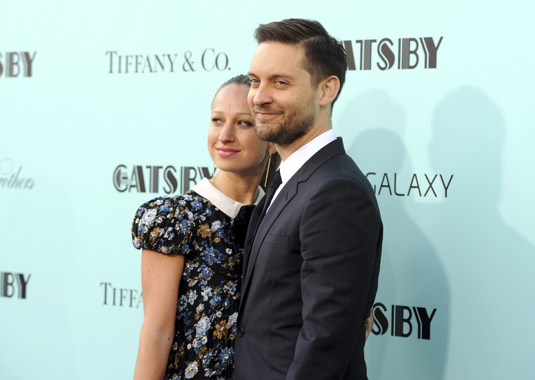 "FILE – In this May 1, 2013, file photo, actor Tobey Maguire, right, and wife Jennifer Meyer attend ""The Great Gatsby"" world premiere in New York. A representative for Maguire confirmed a People magazine report on Oct. 18, 2016, that Maguire and Meyer have separated after nine years of marriage. (Photo by Evan Agostini/Invision/AP, File)"