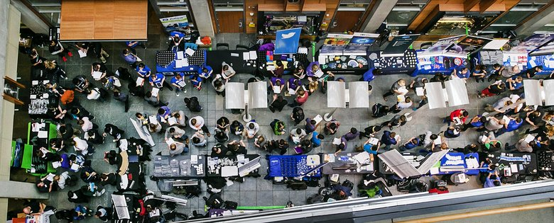 Overhead view of a recruiting fair for computer-science students at the Paul G. Allen Center for Computer Science & Engineering on the University of Washington campus (Johnny Andrews/The Seattle Times)