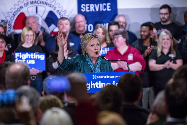 Hillary Clinton during a speech about union workers, jobs and middle-class workers at the IAM District 751 Everett Union Hall in March.