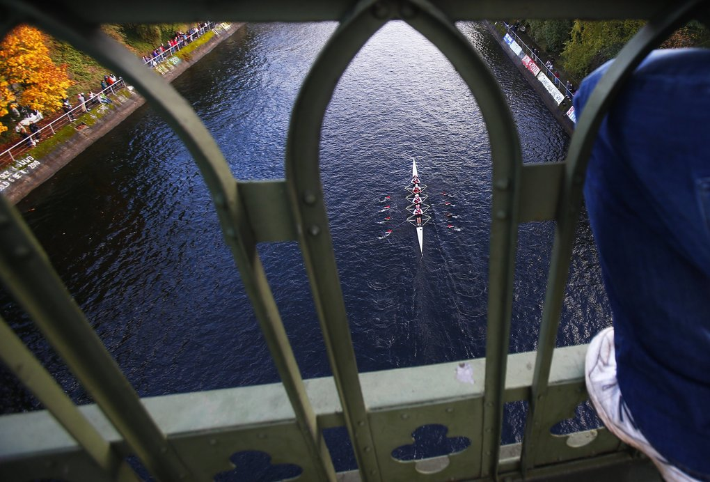 There were 68 different races Sunday as part of the Head of the Lake Regatta on Montlake Cut and Lake Union. UW women won their race.  (Logan Riely/The Seattle Times)