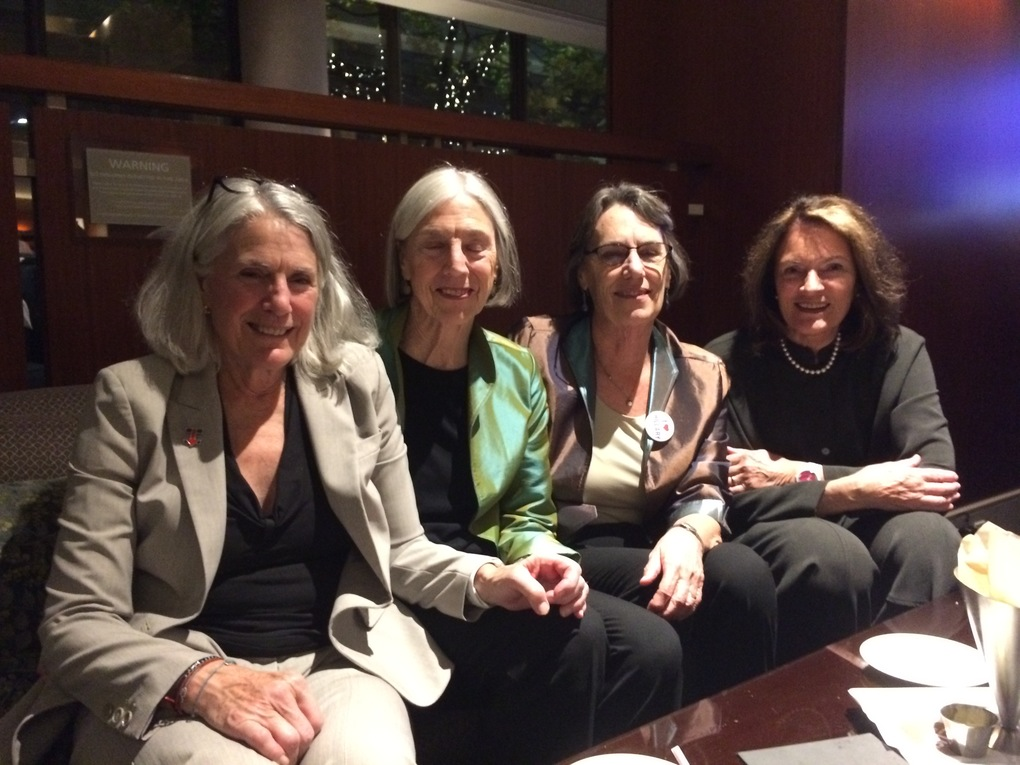 Left to right: Annie Rosen, Maggie Carr, Jane Skrivan and Jill McKinstry at an election-night party at the Westin in downtown Seattle. (Katherine Long / The Seattle Times)