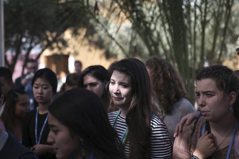 "Environmental activists react during a protest against President-elect Donald Trump at the Climate Conference, known as COP22, in Marrakech, Morocco, Wednesday, Nov. 9, 2016. The election of a U.S. president who has called global warming a ""hoax"" alarmed environmentalists and climate scientists and raised questions about whether America, once again, would pull out of an international climate deal. (AP Photo/Mosa'ab Elshamy)"