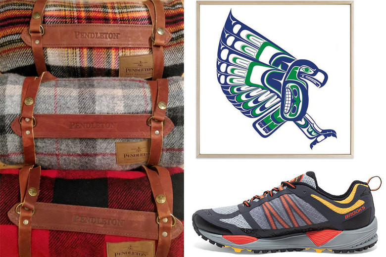 Pendleton Motor Robe with Leather Carrier; Peace For Profit Northwest Native Inspired Seahawks Print; Brooks Cascadia 11 Trail-Running Shoes