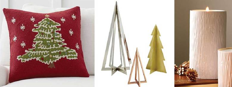 From left: Pottery Barn Christmas Tree Pillow Cover, $69.50; CB2 Trees Frames, $22–$30; and Thymes Frasier Fir Ceramic Pillar Candle, $56