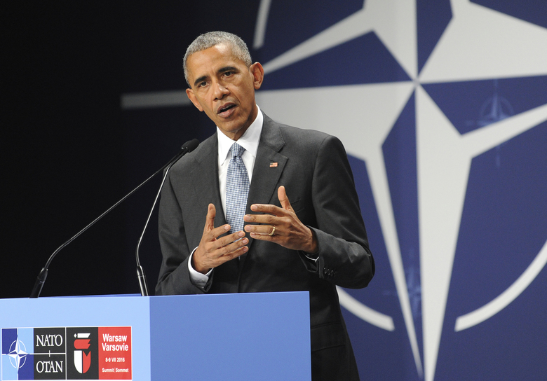 FILE – In this July 9, 2016, file photo, President Barack Obama speaks at the NATO Summit, in Warsaw, Poland. Obama's foreign policy legacy may be defined as much by what he didn't do as what he did. (AP Photo/Alik Keplicz, File)