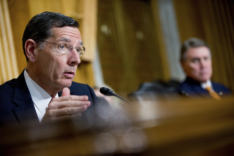 FILE – In this April 5, 2016 file photo, Sen. John Barrasso, R-Wyo. speaks on Capitol Hill in Washington. U.S. government officials on Thursday, Dec. 1 finalized an overhaul of how they plan for oil and gas drilling, mining, grazing and other activities across public lands in the West. The timing of the new rule in the Obama administration's last days drew a rebuke from Barrasso, who predicted it would take authority away from local land managers. (AP Photo/Andrew Harnik,File)