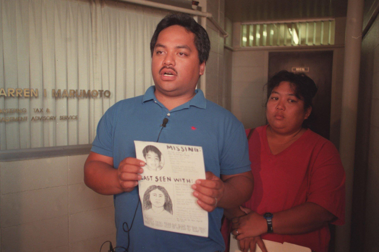 "FILE – In this April 27, 1998, file photo, Peter Kema Sr. and Jaylin Kema, parents of missing Hawaii boy Peter Kema, known as ""Peter Boy,"" are shown in Honolulu, Hawaii. Prosecutors say Jaylin Kema's guilty plea, Thursday, Dec. 1, 2016, finally provides proof the boy is dead. (Jeff Widener/The Honolulu Advertiser via AP, File)"