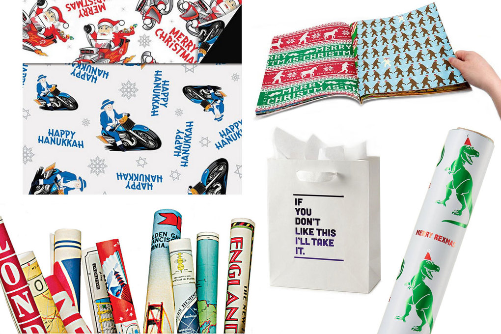 Clockwise from top left: Archie McPhee Chrismukkah Reversible Gift Wrap, $5 for two sheets; Archie McPhee Wrapping Paper Book, $16; Wondershop Merry Rexmas Wrapping Paper, $5; Farewell Paperie I'll Take It Gift Bag, $8; Cavallini & Co. Vintage Map Decorative Wrap, $4 per sheet