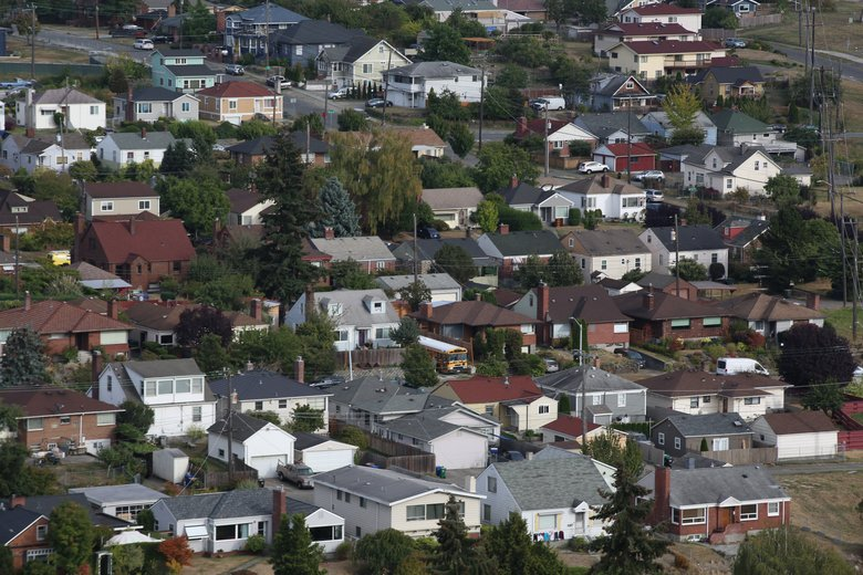 Aerials of homes in the Beacon HIll neighborhood on Friday, September 16, 2016. (Ellen M. Banner / The Seattle Times)