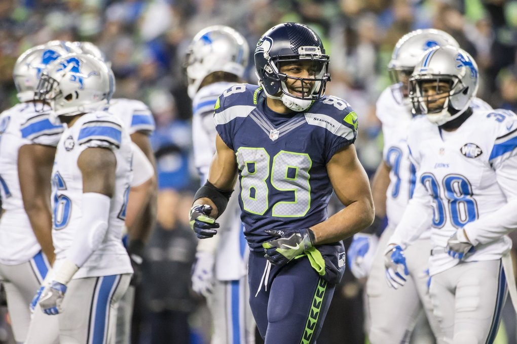 Seahawks wide receiver Doug Baldwin is all smiles after his 13-yard touchdown in the fourth quarter.  (Bettina Hansen / The Seattle Times)