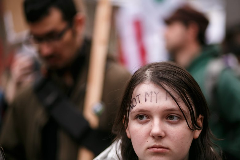 Hundreds participate in demonstrations during Inauguration Day in downtown Seattle.     (Erika Schultz / The Seattle Times)
