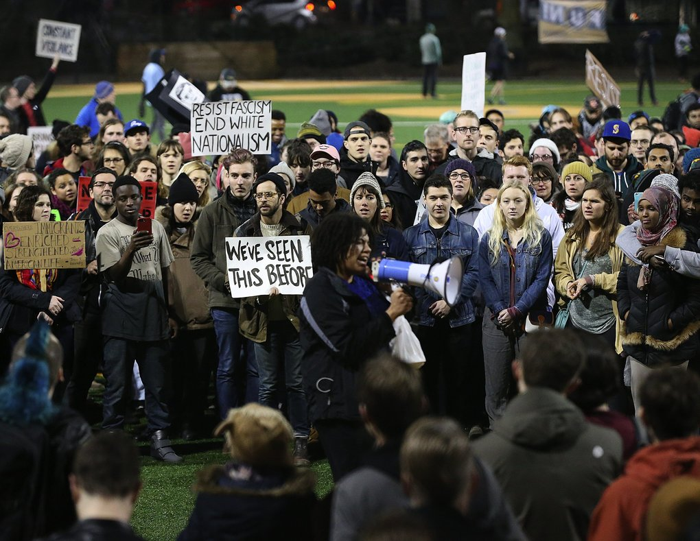 People gather at Cal Anderson Park in protest of President Trump's refugee ban on Sunday in Seattle. (Ken Lambert / The Seattle Times)