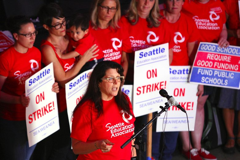Phyllis Campano, bargaining chairwoman and vice president of the Seattle Education Association, at an update of negotiations on the Seattle teacher's strike in September 2015.  (John Lok/The Seattle Times)