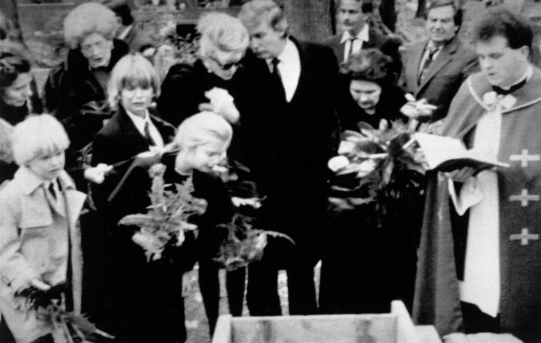 FILE – In this file photo dated Nov. 1, 1990, The Trump family gathers with Ivana and Donald Trump, centre, at the burial site of Milos Zelnicek, father of ivana, in the Moravian town of Zlin, Czechoslovakia. From left in foreground: Eric Trump, 6, Donald Jr., 12, Ivanka, 8, Ivana and Marie Francov' Zelnicek, Ivana's mother. Nearly 30 years ago, Donald Trump was confident he would win the U.S. presidential election, as an independent in 1996, according to recently uncovered files from Czechoslovakia's Communist-era secret police, released Thursday Jan. 12, 2017. (AP Photo/FILE)