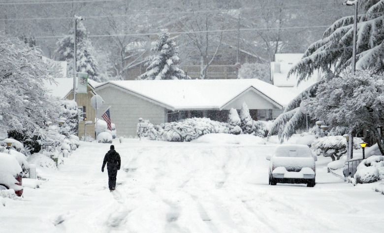 A lone figure walks down a snow covered street in King City, Ore., Wednesday, Jan. 11, 2017. A major snowstorm spread through Portland and parts of Washington state overnight, toppling trees, closing schools and cutting power to thousands.(AP Photo/Don Ryan)