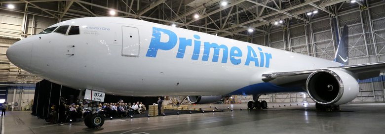 Amazon shows off a Boeing 767-300, one of 40 in its leased air-freight fleet. The company is focusing on air freight to help handle the e-commerce giant's rapid growth.  (Ken Lambert/The Seattle Times)